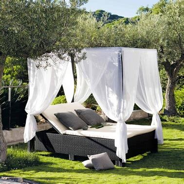 bain de soleil double mobilier de jardin maisons du monde