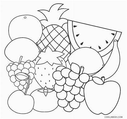 Coloring Fruit Fruits Printable Sheet Sheets Cool2bkids