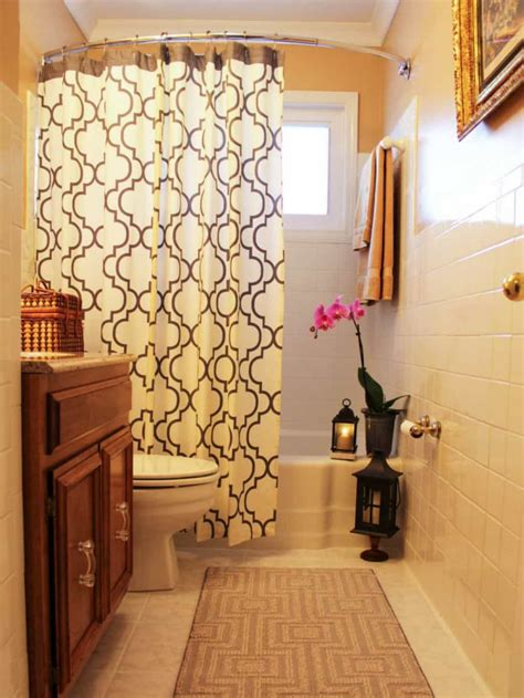 Shower Curtains For Small Bathrooms small bathroom with grey walls and stripes shower curtain