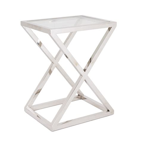 RV Astley Nico Stainless Steel & Glass Side Table ? Shropshire Design