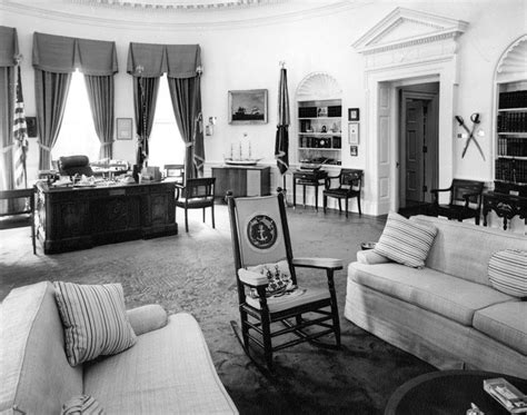 white house oval office president kennedy s rocking chair and desk f kennedy
