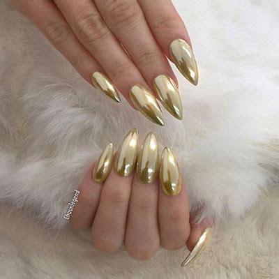 18 Gold & Silver Chrome Nails Art Designs & Ideas 2017