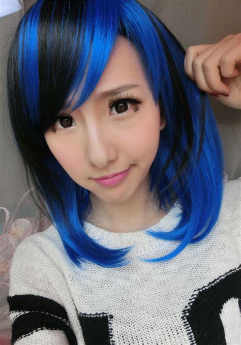 36cm Womens Girls Short Hair Wigs Blue Mixed Black Two