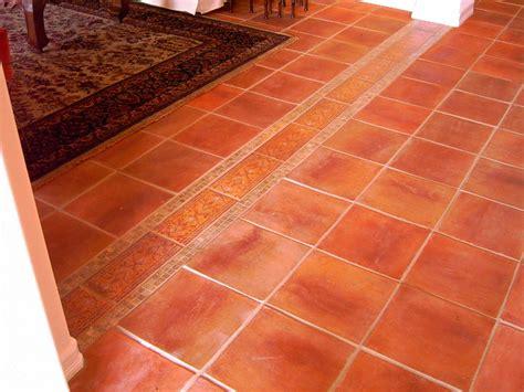 mexican saltillo tile with custom edge floor design