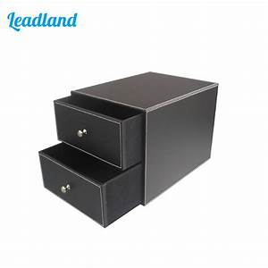 2 drawer 2 layer pu leather filing cabinet desk file With document drawer organizer