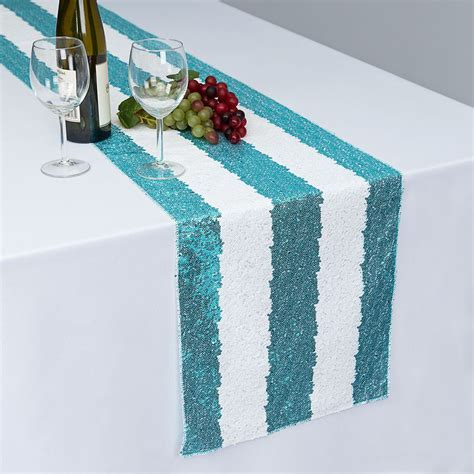 14 x 108 in. Sequin Striped Table Runner