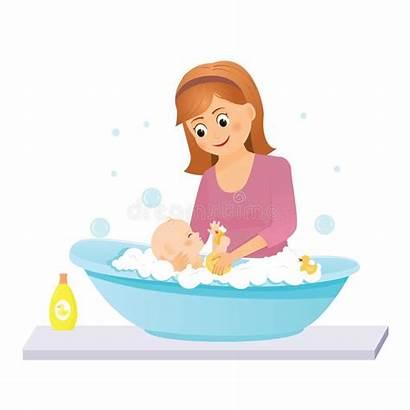 Bath Mom Washes Cartoon Illustration Vector Clipart