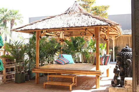 Thai Tiki Hut by Bamboo Gazebo 2 5 X 2 5 With Floor Thatch Roof Other