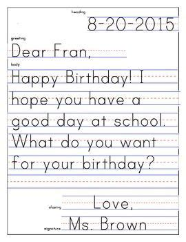 friendly letter template   kindergarten