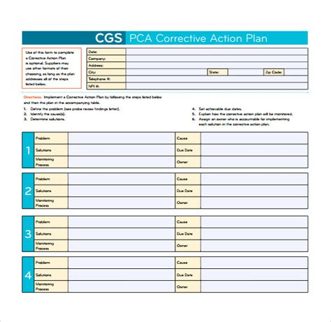 corrective plan template 13 corrective plan templates to for free sle templates