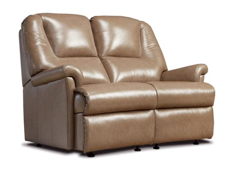 Small 2 Seater Settees by Milburn Small Leather Fixed 2 Seater Settee Sherborne