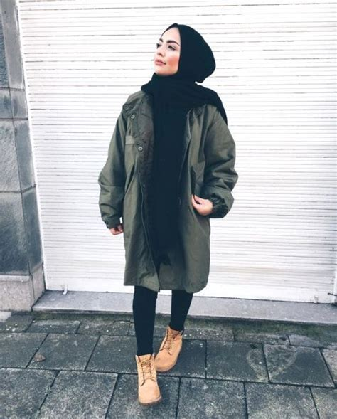 military hijab style  timberland boots hijabi