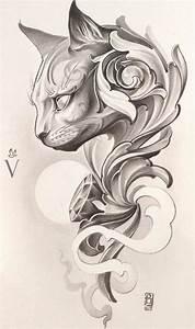 Cat tattoo design. | Words, Phrases & Quotes | Pinterest ...