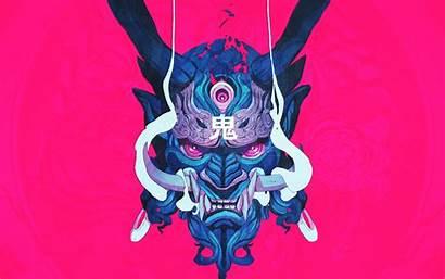 Demon Japanese Oni Mask Samurai Wallpapers Illustration