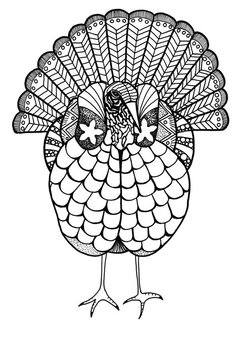 colorful turkey adult coloring page favecraftscom