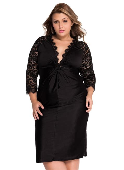 black xxl  size cocktail dress  lace sleeves chicuu