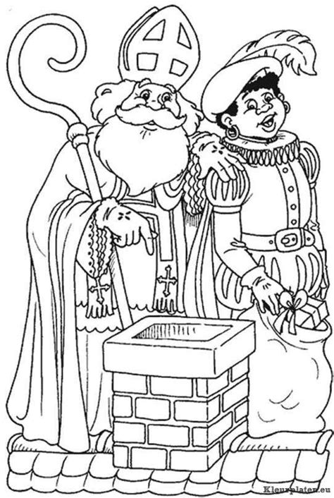Kleurplaat Zwarte Piet Op Het Dak by Sinterklaas En Zwarte Piet Op Het Dak Kleurplaat