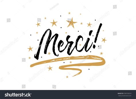 merci beautiful greeting card scratched calligraphy stock