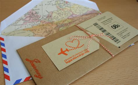 travel themed wedding invitation boarding pass diy