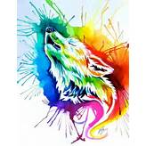 Color wolf: Watercolor, Stuff, Wolf Drawing, Rainbow Wolf, Rainbows ...