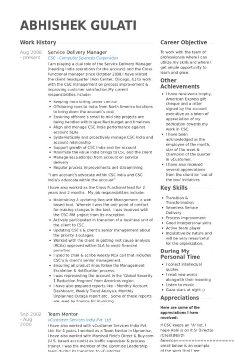 It Delivery Manager Resume Sle by Service Manager Resume Sle Resume Cv Cover Letter