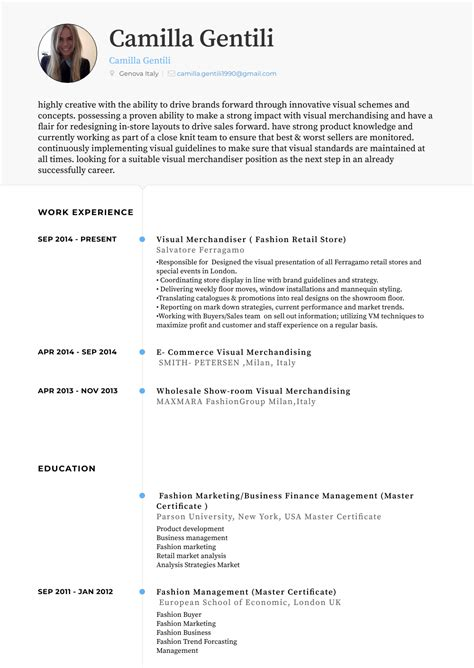 Visual Merchandiser Resume by Visual Merchandiser Resume Sles Templates Visualcv