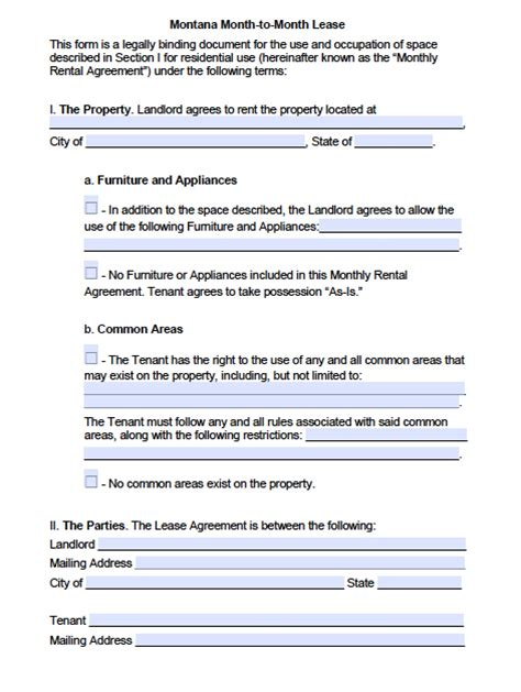 montana month  month lease agreement template