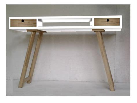 bureau bois et blanc bureau vintage design style scandinave blanc et bois
