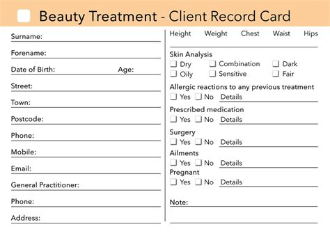 client record card beauty template beauty client card client record card treatment
