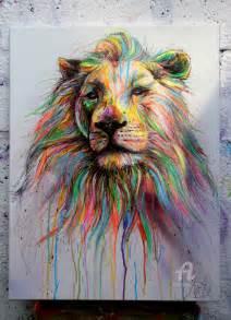 Toile Street Art : lion colorfull art de no ~ Teatrodelosmanantiales.com Idées de Décoration