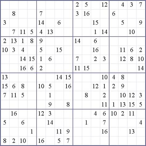 The hexadoku is a 16x16 sudoku puzzle. Free Printable 16x16 Sudoku Puzzles Quotes