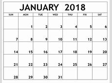 January 2018 Printable Calendar Printable Calendar Templates