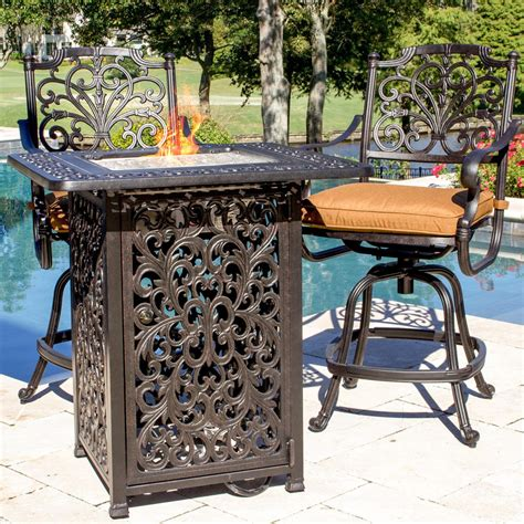 bar height patio table with fire pit evangeline 2 person cast aluminum patio counter height bar