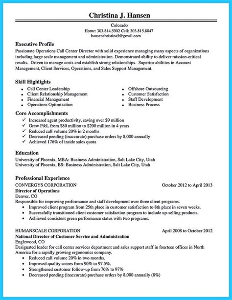 Resume Objective For Call Center by Call Center Resume Objective Sle