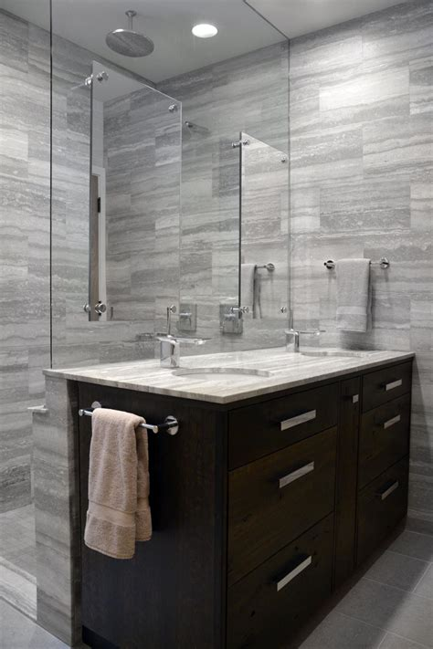 Bathroom Shower Walls - glass shower wall is vanity backsplash in modern gray