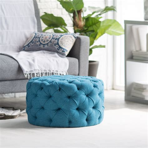 A Ottoman by Belham Living Allover Tufted Ottoman Teal