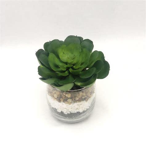 กุหลาบหินปลอมพร้อมแก้ว แต่งด้วยหิน 3 สี 3 ชั้น Succulent plant สำหรับวางประดับตกแต่ง