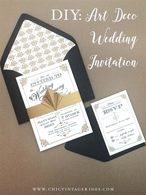 art deco wedding invitation diy with download print