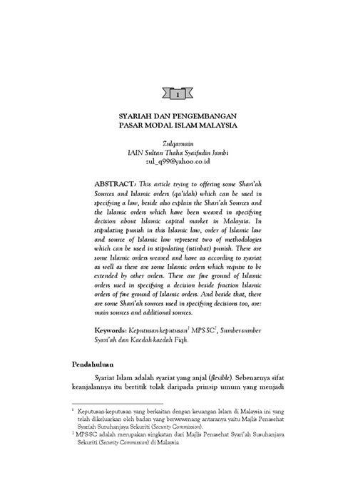syariah dan pengambangan pasar modal malaysia by MUAMALAH