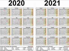 Zweijahreskalender 2020 & 2021 als PDFVorlagen zum Ausdrucken