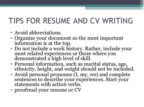 Should A Resume Be Written In Complete Sentences by Seminar On Cv Preperation