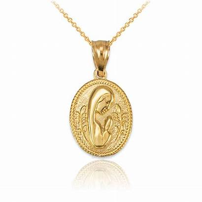 Mary Medallion Praying Virgin Charm Necklace Yellow
