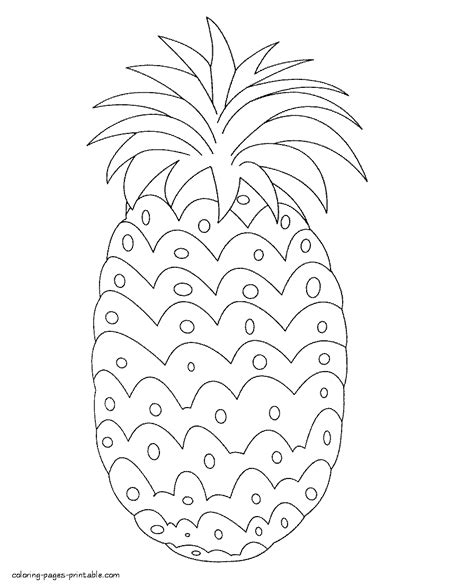 fruits  vegetables coloring pages pineapple coloring pages printablecom