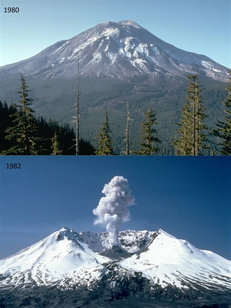 Mount St Helens Volcano Before And After Eruption In