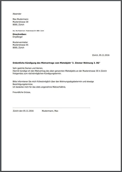 Ordentliche Kündigung Mieter by K 252 Ndigung Mietvertrag Musterbrief