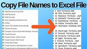 Copy File Names From Folders To Excel