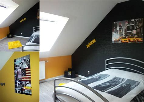 ladaire chambre deco chambre ado gris et jaune