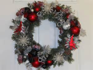 reduced christmas wreath red silver glitter tree sparkle