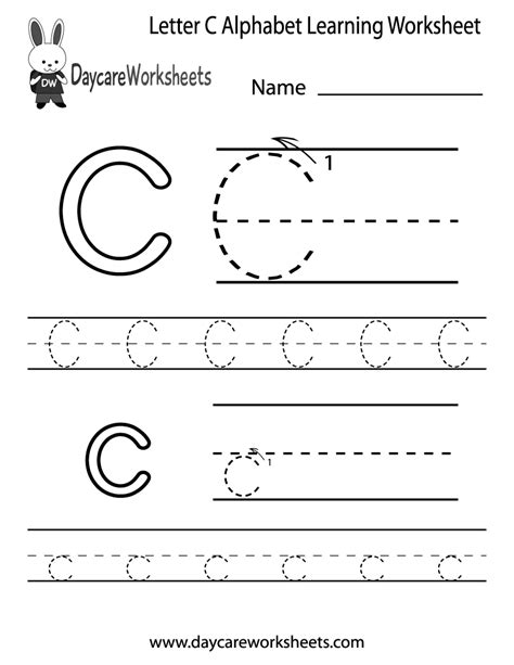 free letter c alphabet learning worksheet for preschool 881 | letter c alphabet learning worksheet printable