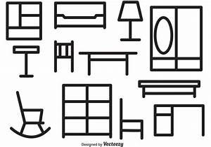 Furniture Outline Vector Icons - Download Free Vector Art ...
